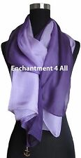 New Shaded 100% Pure Silk Oblong Scarf Shawl Wrap, Shaded Purple