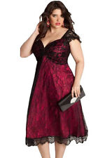 NEW Burgundy Red Floral Lace Embellished Evening Plus Size Dress 16 18 20 22 24