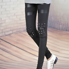 Fashion Women Punk Knee Rivet Studs Spike Faux Leather Patch Leggings Trousers