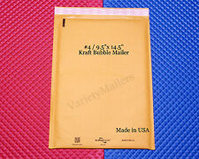 """14 KRAFT BUBBLE LARGE PADDED MAILING ENVELOPES #4 9.5""""x14.5"""" ~ MADE IN THE USA"""