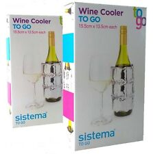 Sistema To Go 2 x Wine/Bottle Cooler Bag Sleeve Reusable Picnic Travel Camping
