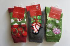 Charter Club 3 Pairs Holiday Socks Sz 9 - 11 Venus Red Grey Ivy Green Christmas