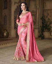 Indian Party Wear Pink Sari Saree Designer Bollywood Wedding Pakistani Saree