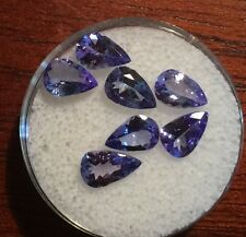 7 Pear Cut Natural Tanzanites New Purple Blue Jewelry Loose Gemstones Lot