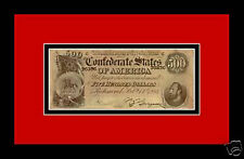 Confederate Civil War Money $500 bill replica framed