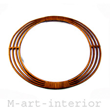 alter Rattan Spiegel 60er Design Franco Albini Style Mirror Italy 1960s vintage