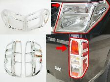 CHROME COVER HEAD TAIL LIGHT LAMP TRIM LH+RH FOR NISSAN NAVARA D40 2005-2009 08
