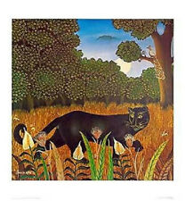 Stalking Panther by Branko Paradis. Fine Art Naive Style Poster