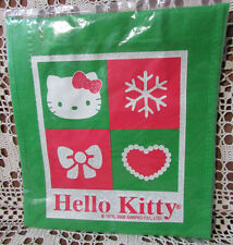 HELLO KITTY New Shopping Tote Bag Dated 2008 Sanrio Winter Themed Green Canvas