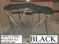 6' LONG, 54-60 INCH WIDE BLACK BOAT BIMINI SHADE CANOPY TOP COVER BIKINI 3 BOW