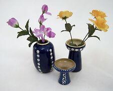 Kohrener Keramik Töpferei 3er Vasen Set blau mit weissen Punkten & Strichen