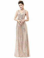 Lang Abendkleid Ballkleider Party Cocktail Brautjungfern Brautkleid Rose Gold 46