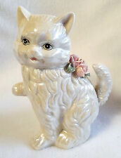 Cat Figurine White Ceramic Pearl Finish Pink Roses Sweet Face 5.5""