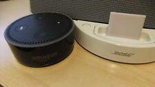 White Bluetooth Adapter Links ANY Amazon Dot to ANY 30 Pin Apple Bose SoundDock