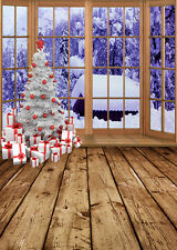 SL-4836-12 Digital Vinyl Backdrop Background Christmas trees,present,snow, 5*7FT