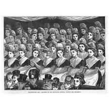 LONDON Thanksgiving Day Foundling Hospital Children in Attendance-Old Print 1872