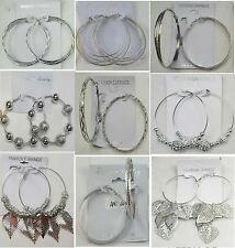 Wholesale lot Fashion jewelry lots 9 pairs Silver Plated Hoop Earrings #57