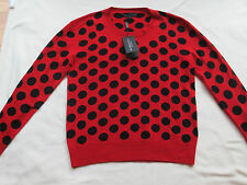$995 NWT BURBERRY PRORSUM Mens Wool Polka Dot Red Sweater Sz. S Small