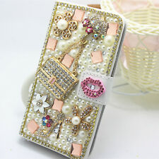 Bling Crystal Diamonds Pearls PU leather flip slots stand wallet case cover A1