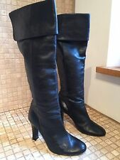 *RARE* TOPSHOP Black Leather Knee High Smart Pull On Boots 3/36 *MINT CONDITION*