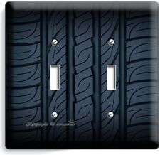 SPORT RACING CAR TRUCK TIRE DOUBLE LIGHT SWITCH WALL PLATE COVER MAN CAVE GARAGE