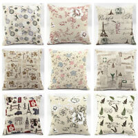 Classic Flower European Linen Cotton Throw Pillow Case Sofa Car Cushion Cover