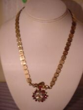 Victorian Era Book Chain Necklace With Fabulous Jeweled Catch Pendant