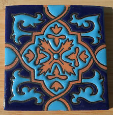 "8~Talavera Mexican 4"" tile kiln fired hand painted Hi Relief Blue Terra Cotta"