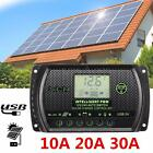 10A/20A/30A 12V/24V PWM LCD USB Solar Panel Battery Regulator Charge Controller