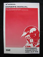 Honda 2002 TRX350FE TRX 350 FE 4X4 ES Fourtrax ~NEW~ Original Owners Manual