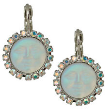 NEW KIRKS FOLLY PETITE SEAVIEW MOON LEVERBACK EARRINGS ST/ CRYSTAL AB