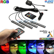 Full Color-change LED Interior Car Underglow Dash Foot Floor Strip Accent Light