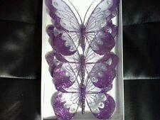 16cm x3 Decorative Glitter Jewelled Clip-on Butterfly Butterflies Wedding Purple