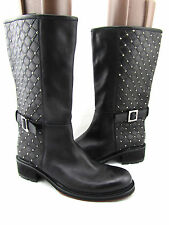 $1175 CESARE PACIOTTI Black Quilted Studded Leather Knee High Riding Boots 10 40