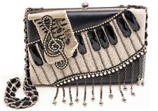 Mary Frances Ebony & Ivory Beaded Sequin Chain Piano Clutch Purse Shoulder Bag