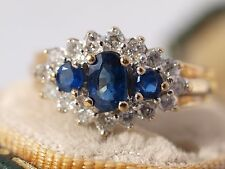 9ct Yellow Gold 3 Sapphire Diamond Ring Hallmarked