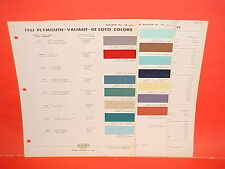 1961 PLYMOUTH VALIANT DESOTO BELVEDERE FURY CONVERTIBLE SAVOY PAINT CHIPS CHART
