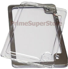Chrome Metal Motorcycle License Plate Tag Frame Clear Cover Plastic Protector