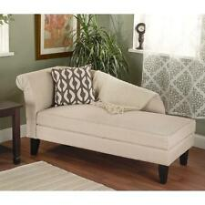 """Beige Chaise Lounge Chair WITH STORAGE! 63"""" Long Couch Seating - SHIPS FREE"""