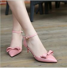 Solid Pointed Toe Patent Leather Bowknot Stilettos Party Women's Heels Shoe
