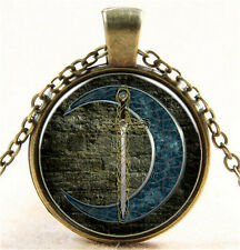 Vintage The moon and sword Cabochon Bronze Glass Chain Pendant Necklace