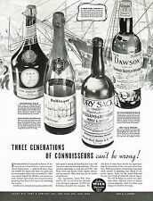 1936 BIG Vintage Benedictine D.O.M Bollinger Champagne Dry Sack Sherry Print Ad