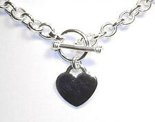 Heart Charm Toggle Link Solid Sterling Silver Necklace 20""