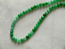 "16"" CHINESE GREEN 5mm BEAD JADE NECKLACE WEDDING BIRTHDAY PARTY GIFT POU A5"