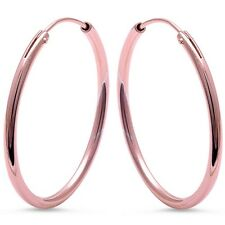 Plain Rose Gold Plated Round Hoop .925 Sterling Silver Earrings