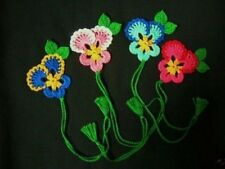 4 Crochet  Mix  Pansy  Flowers Bookmarks,Scrapbooking,Crafts,School,Office,Gifts