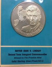 1970 JOHN LINDSAY INAUGURAL Commemorative Medal Silver Proof Coin Second Term