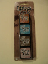 TIM HOLTZ DISTRESS INK MINI PACK TDPK40361 BNIP 4 MINI INK PADS *LOOK*