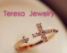 Teresa 18k Rose Gold with Diamond Cross Ring