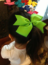 "6"" Big XL Hair Bow Boutique Girls Baby Toddler Alligator Clip Grosgrain Ribbon"